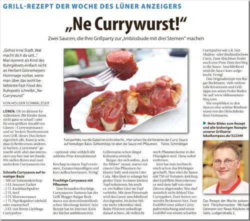 Mein Rezept der fruchtigen Pflaumen-Currysauce im Lünener Anzeiger.