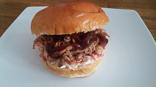 Pulled Pork Burger: Slaw, Meat, Sauce